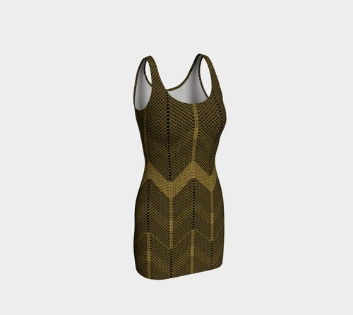 Gold Foil Mesh Bodycon Dress