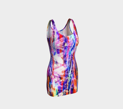 Zig Zag Overlay Bodycon Dress