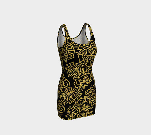 Gold Foil Geo Bodycon Dress