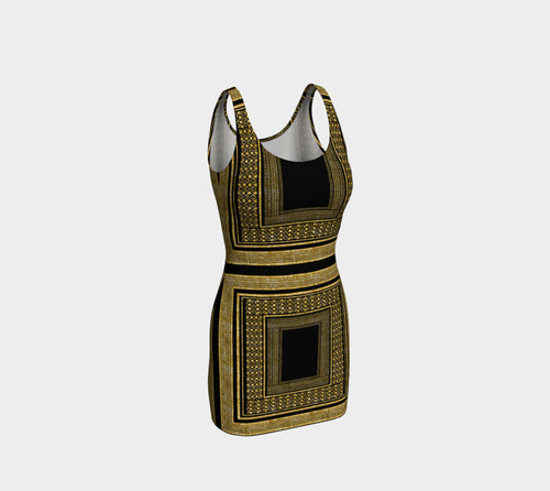 Gold Foil Frame Bodycon Dress