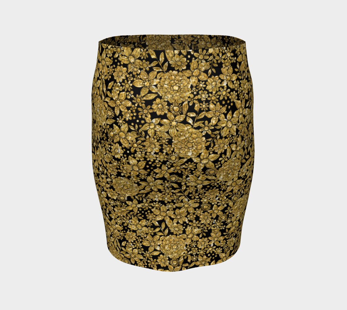 Gold Foil Flowers Fitted Skirt Fitted Skirt  Roxie Rudolph Roxie Rudolph Roxie Rudolph