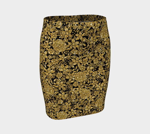 Gold Foil Flowers Fitted Skirt