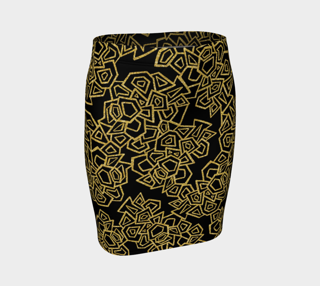 Gold Foil Geo Fitted Skirt Fitted Skirt  Roxie Rudolph Roxie Rudolph Roxie Rudolph