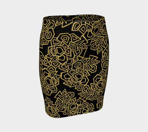 Gold Foil Geo Fitted Skirt