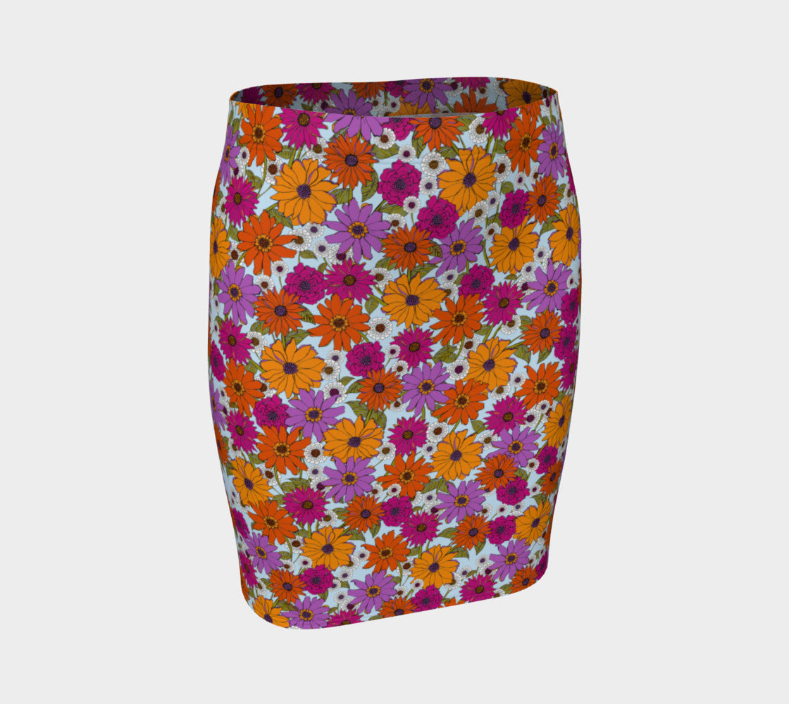 Retro Floral Fitted Skirt Fitted Skirt  Roxie Rudolph Roxie Rudolph Roxie Rudolph