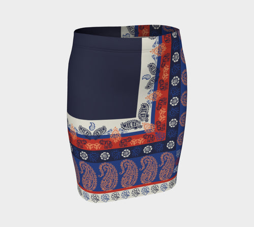 Elephant Paisley Fitted Skirt