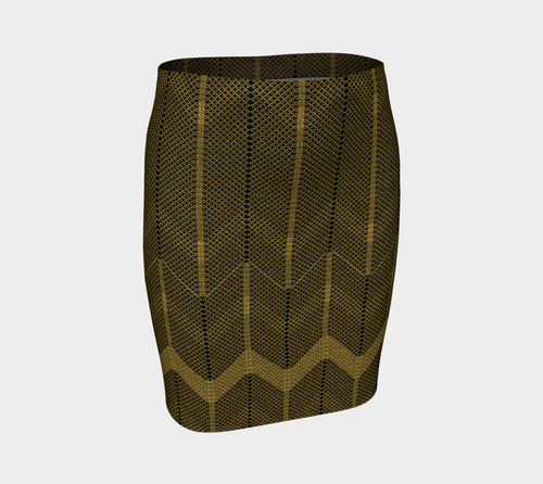 Gold Foil Mesh Fitted Skirt