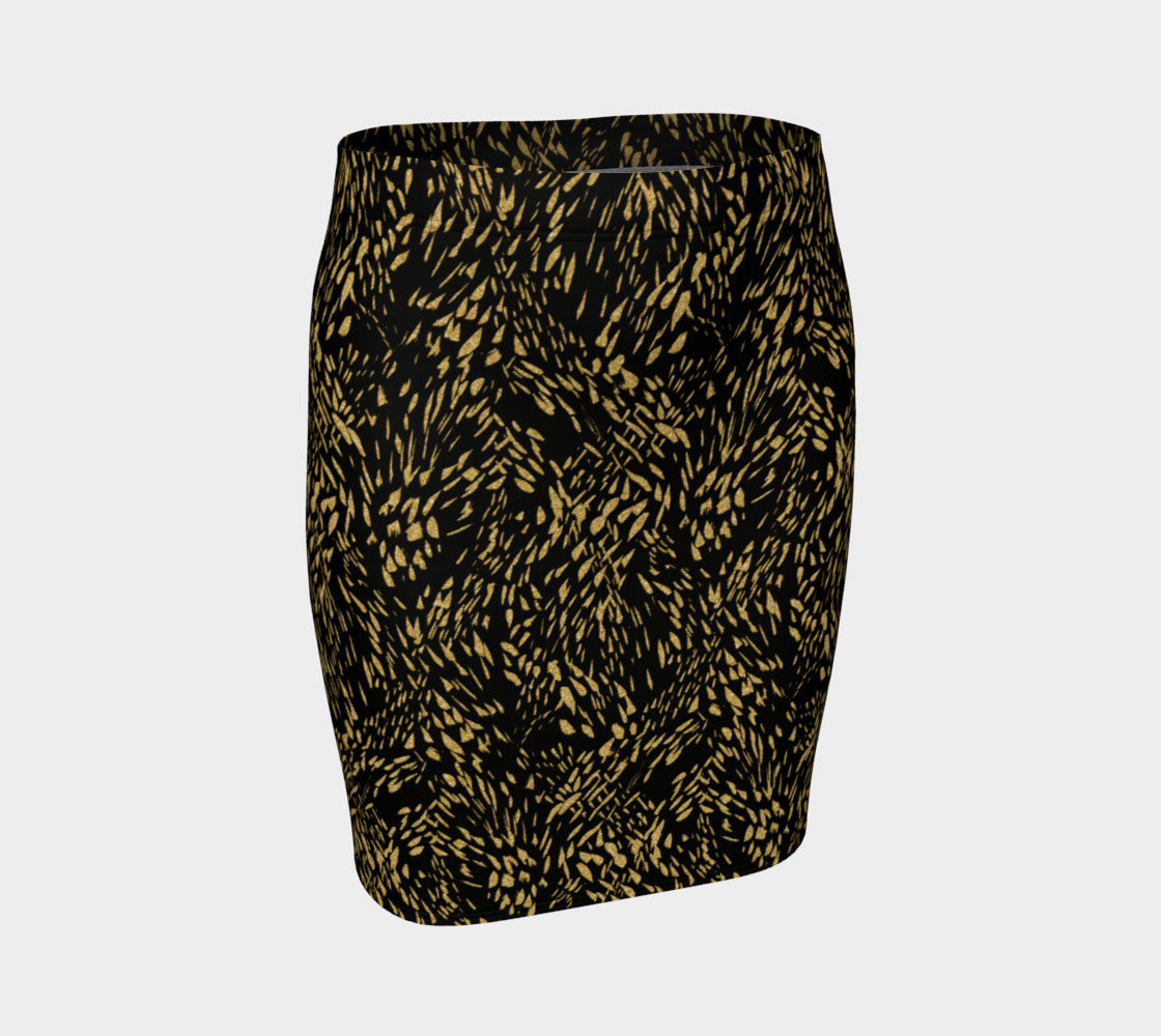 Gold Foil Brushstroke Fitted Skirt Fitted Skirt  Roxie Rudolph Roxie Rudolph Roxie Rudolph
