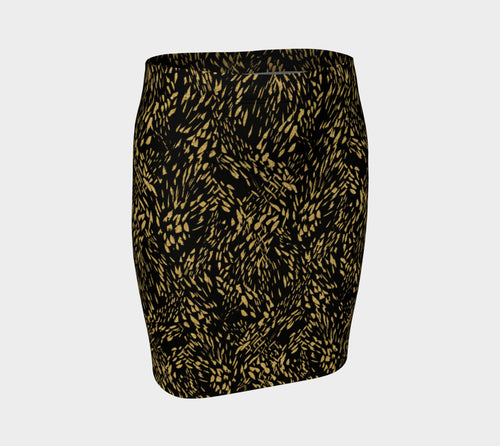 Gold Foil Brushstroke Fitted Skirt