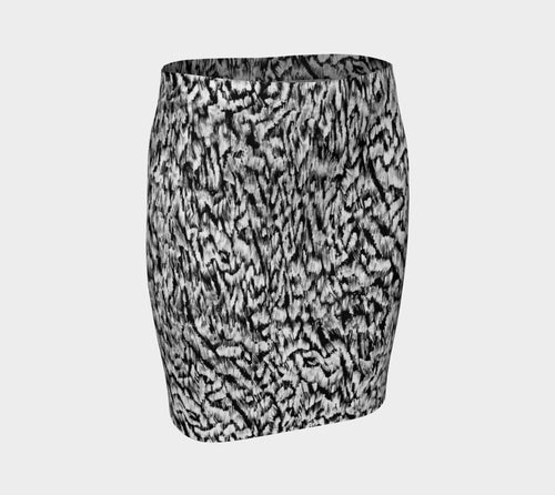 Black + White Animal Fitted Skirt