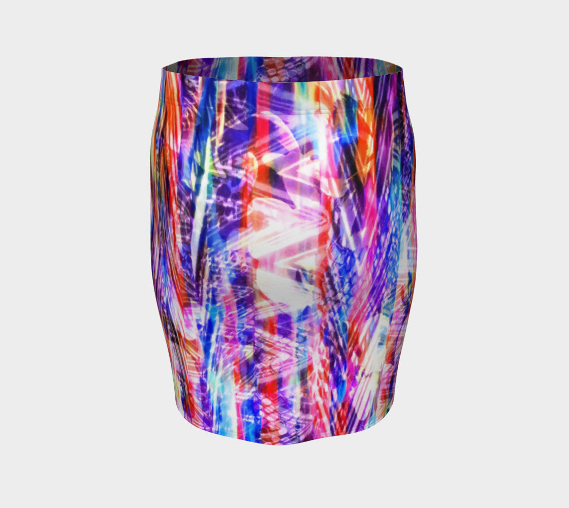 Zig Zag Overlay Fitted Skirt