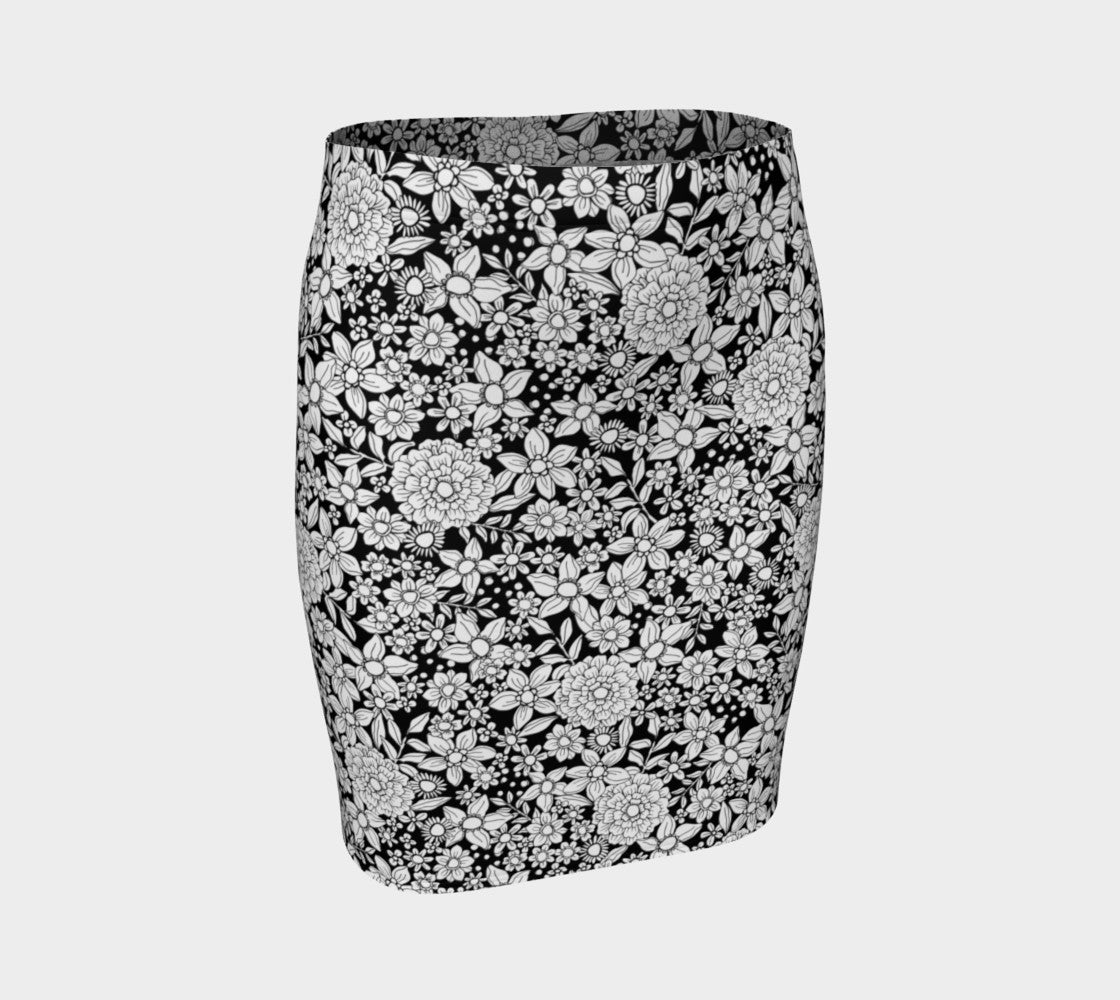 B+W Floral Fitted Skirt Fitted Skirt  Roxie Rudolph Roxie Rudolph Roxie Rudolph