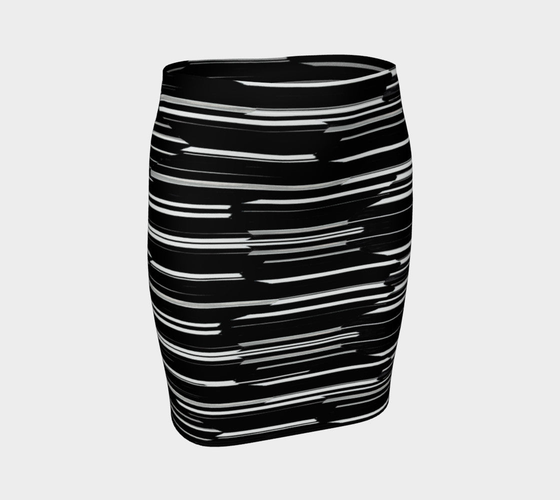 Smeared Stripe Fitted Skirt