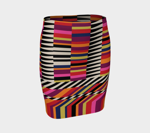 Rainbow Geo Fitted Skirt