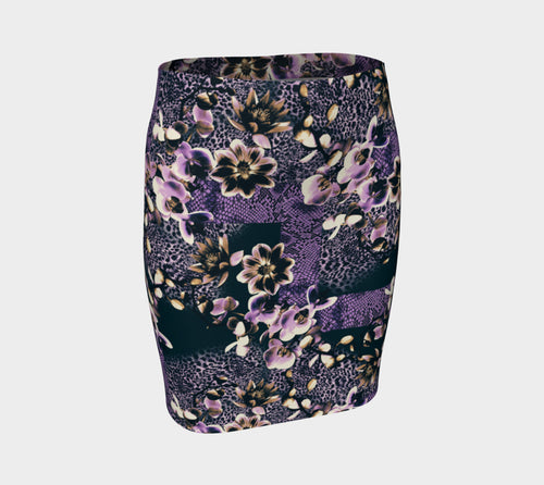 Floral Animal Fitted Skirt