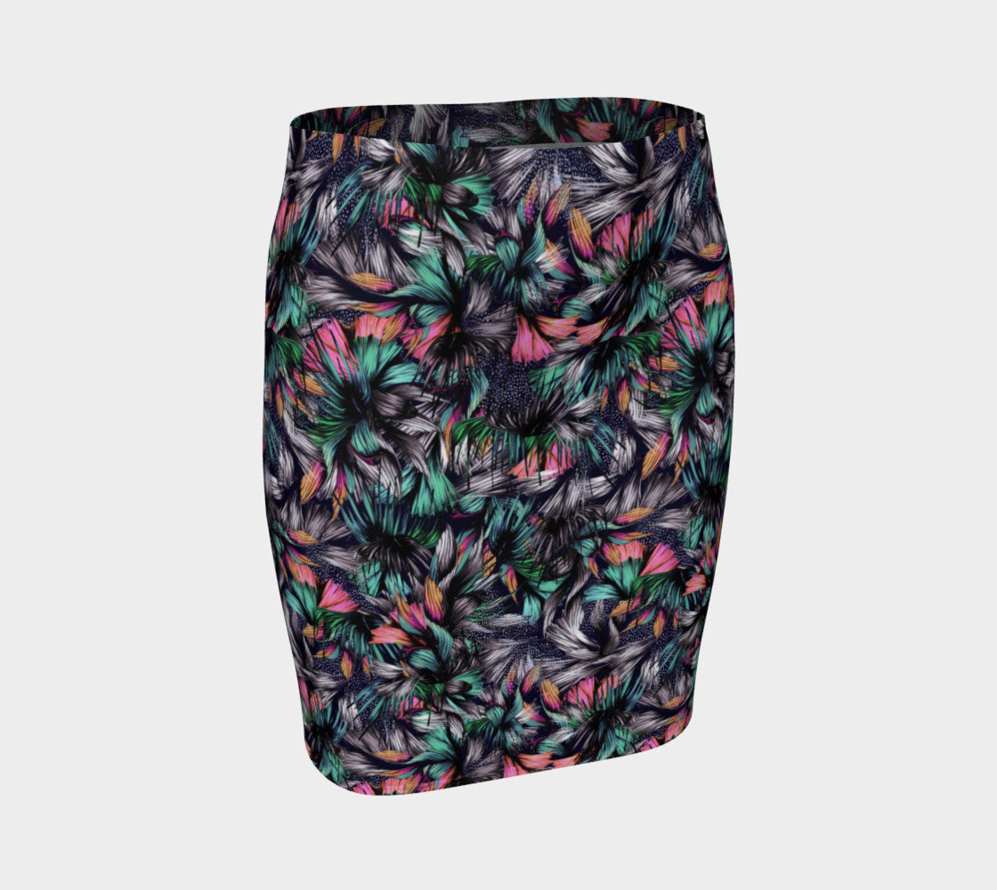 Feathery Tropical Fitted Skirt Fitted Skirt  Roxie Rudolph Roxie Rudolph Roxie Rudolph