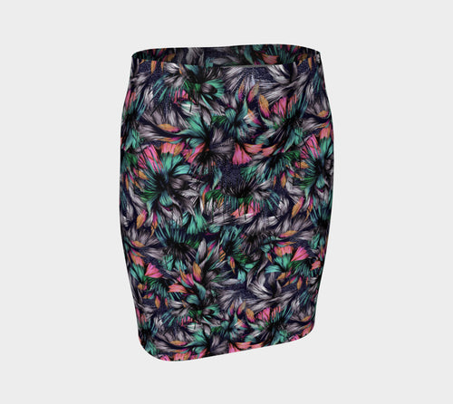 Feathery Tropical Fitted Skirt
