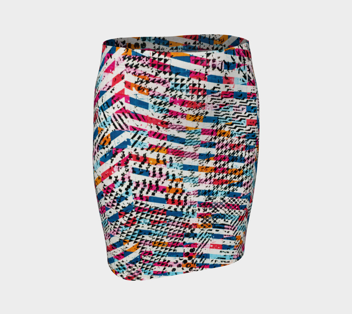 Patternmix Block Print Fitted Skirt