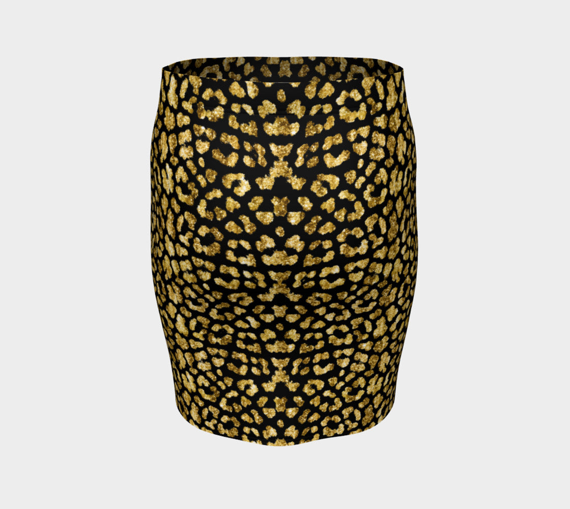 Gold Glitter Leopard Fitted Skirt Fitted Skirt  Roxie Rudolph Roxie Rudolph Roxie Rudolph