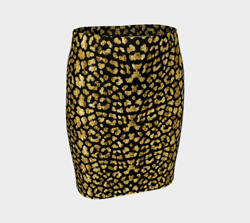 Gold Glitter Leopard Fitted Skirt