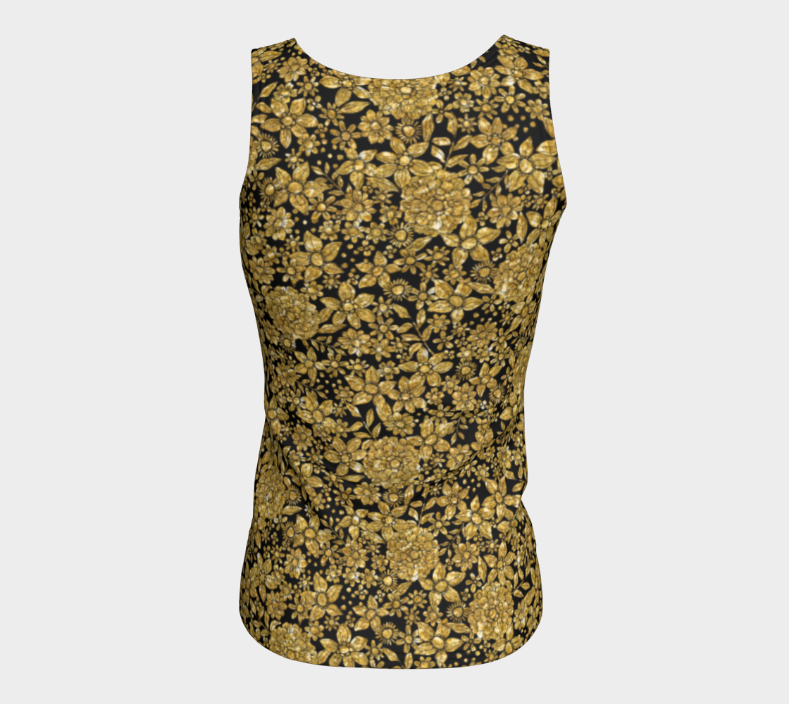Gold Foil Flowers Fitted Tank Top/Long Length Fitted Tank Top (Long)  Roxie Rudolph Roxie Rudolph Roxie Rudolph