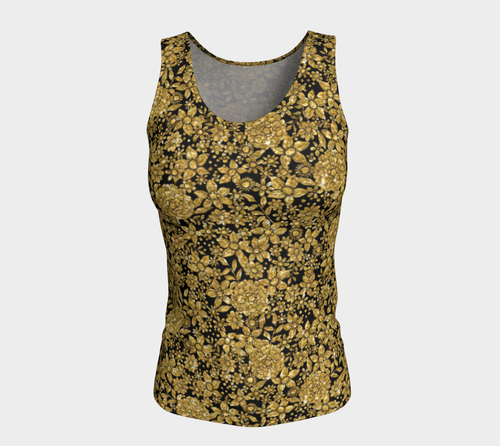 Gold Foil Flowers Fitted Tank Top/Long Length