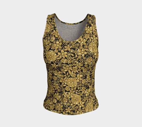 Gold Foil Flowers Fitted Tank Top/Regular Length