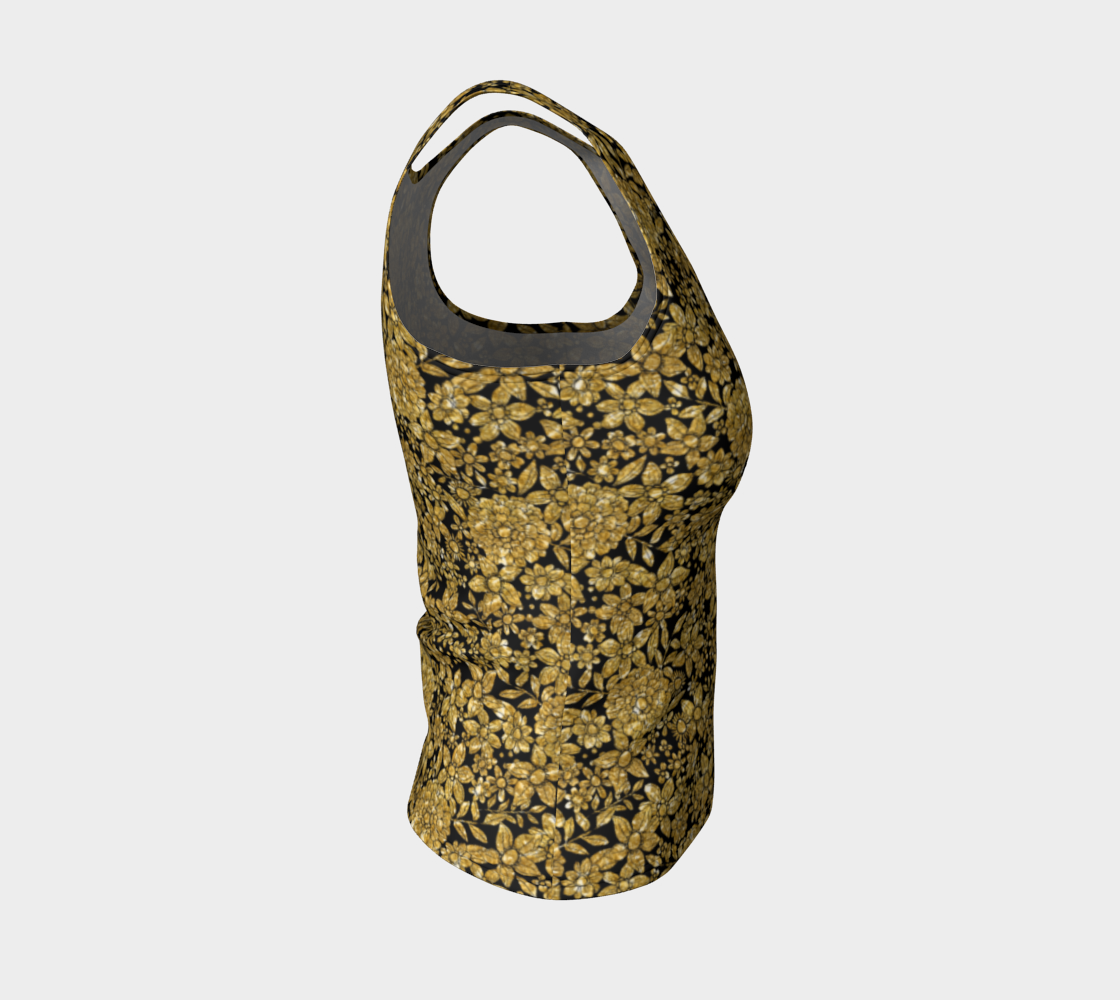 Gold Foil Flowers Fitted Tank Top/Regular Length Fitted Tank Top (Regular)  Roxie Rudolph Roxie Rudolph Roxie Rudolph