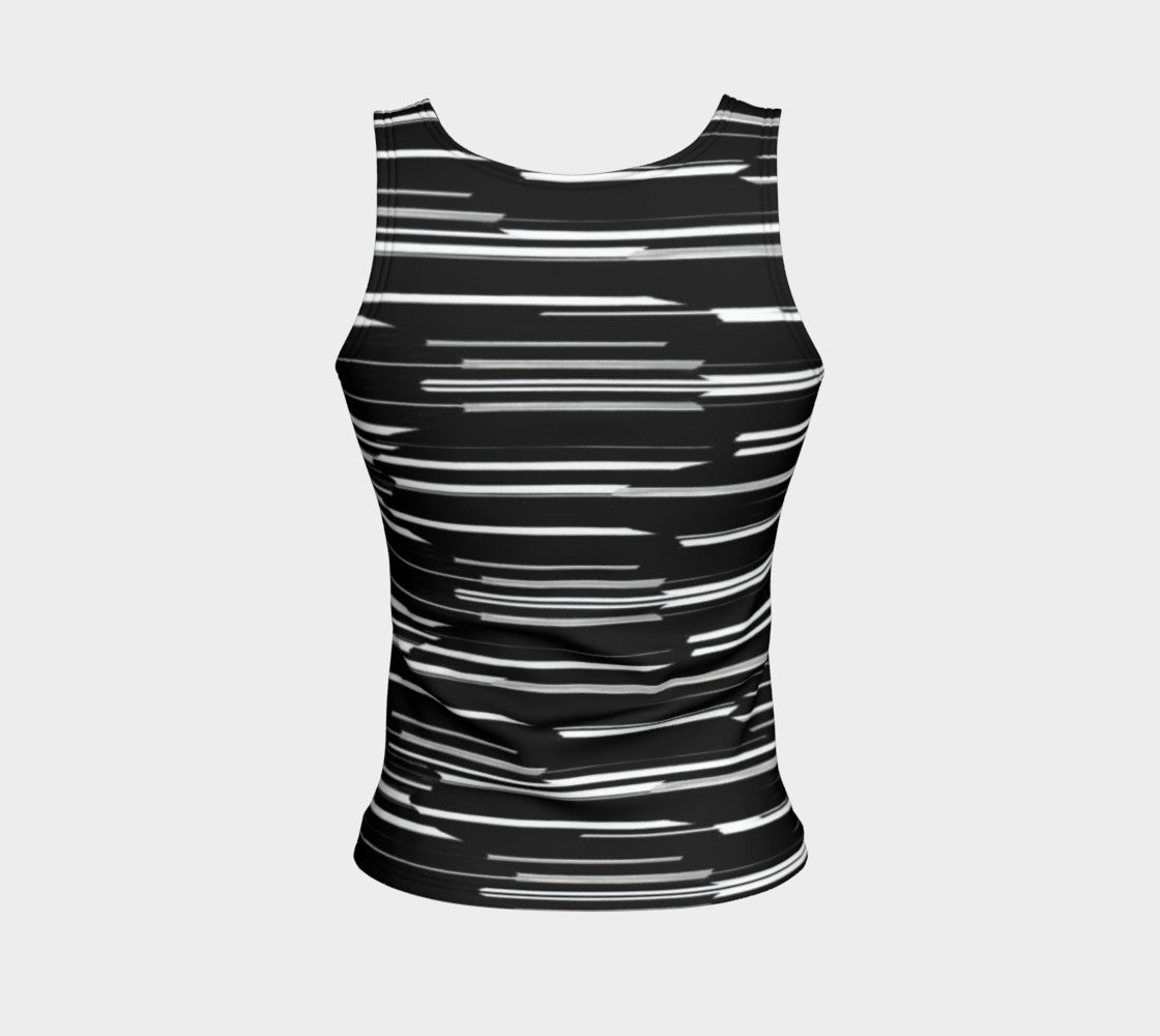 Smeared Stripe Fitted Tank Top/Regular Length
