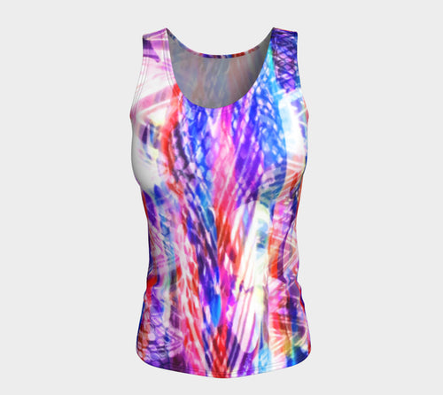 Zig Zag Overlay Fitted Tank Top/Long Length