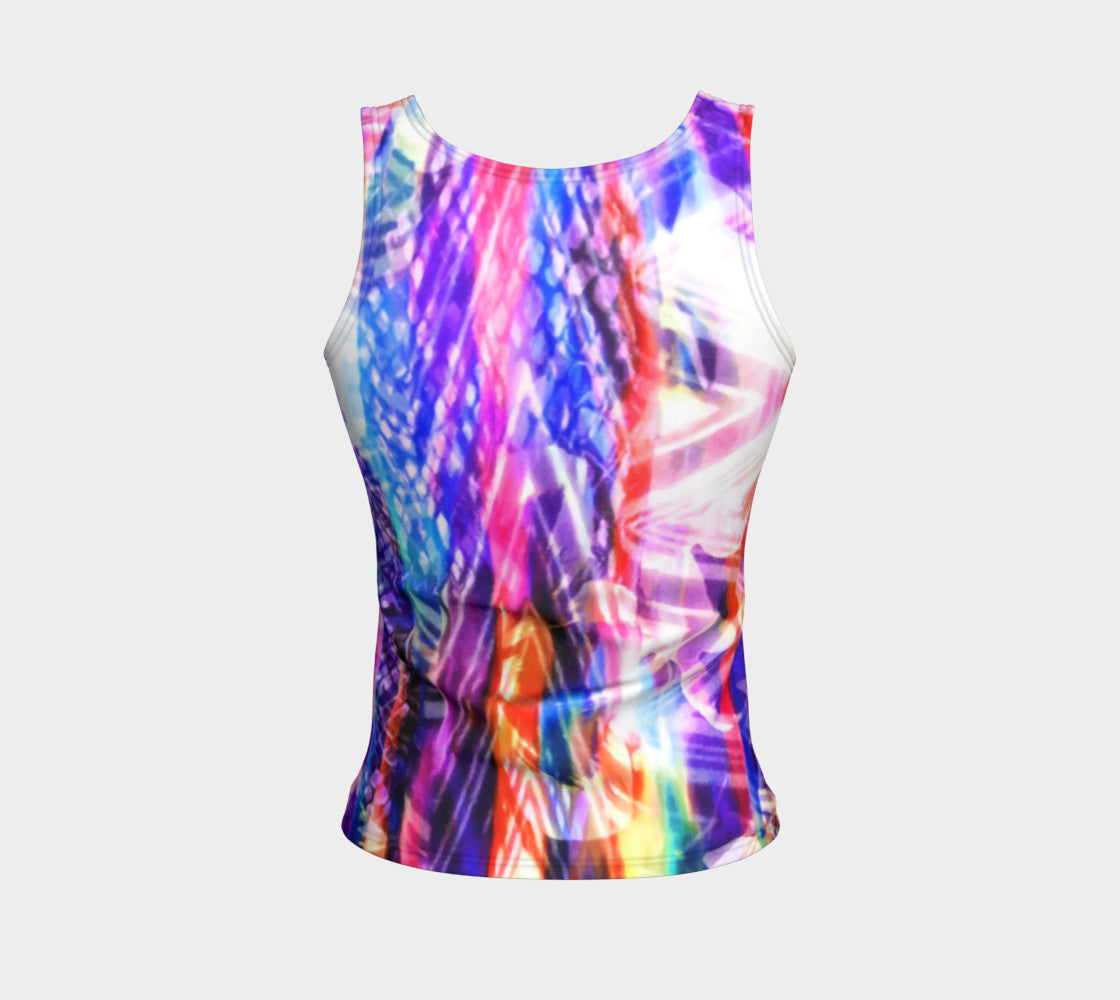 Zig Zag Overlay Fitted Tank Top/Regular Length