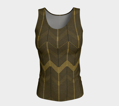 Gold Foil Mesh Fitted Tank Top/Long Length