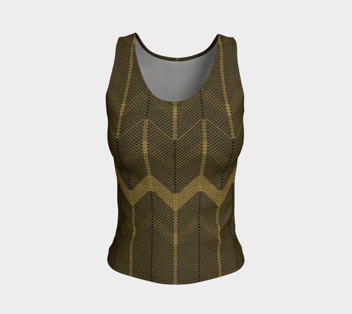 Gold Foil Mesh Fitted Tank Top/Regular Length