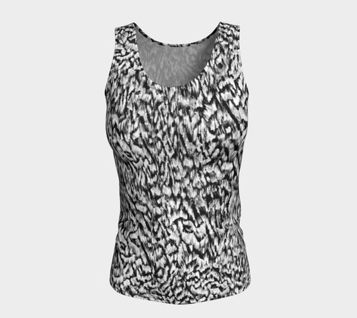 Black + White Animal Fitted Tank Top/Long Length