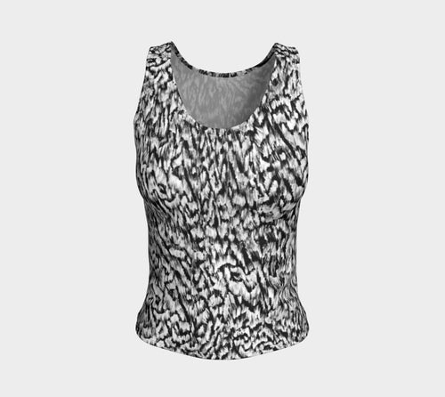 Black + White Animal Fitted Tank Top/Regular Length