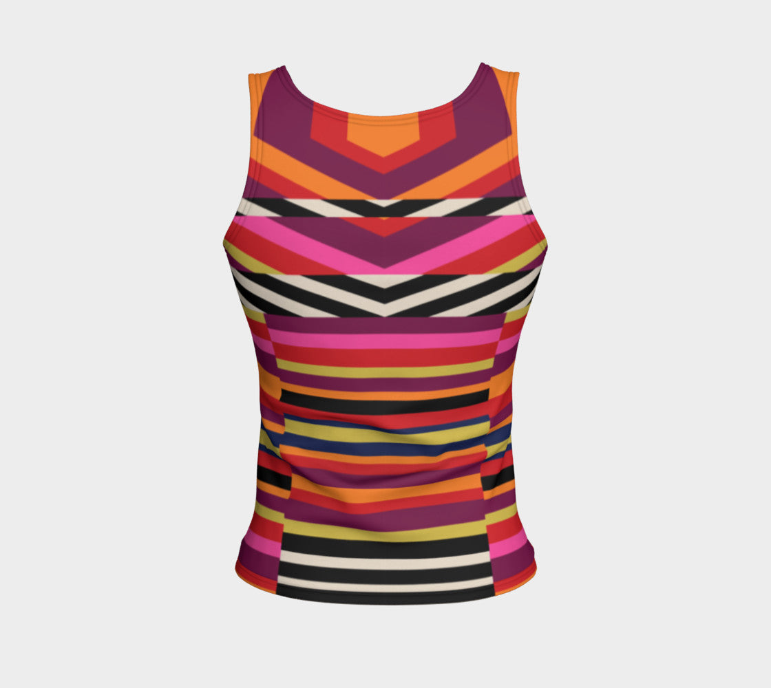 Rainbow Geo Fitted Tank Top/Regular Length Fitted Tank Top (Regular)  Roxie Rudolph Roxie Rudolph Roxie Rudolph