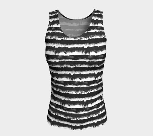 Inky Stripe Fitted Tank Top/Long Length