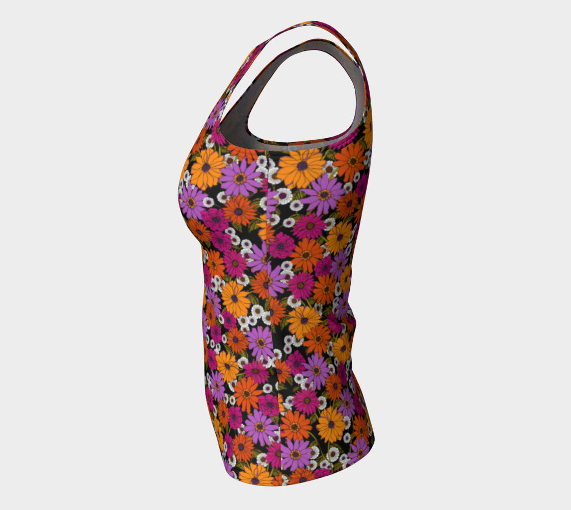 Retro Floral Fitted Tank Top/Long Length Fitted Tank Top (Long)  Roxie Rudolph Roxie Rudolph Roxie Rudolph