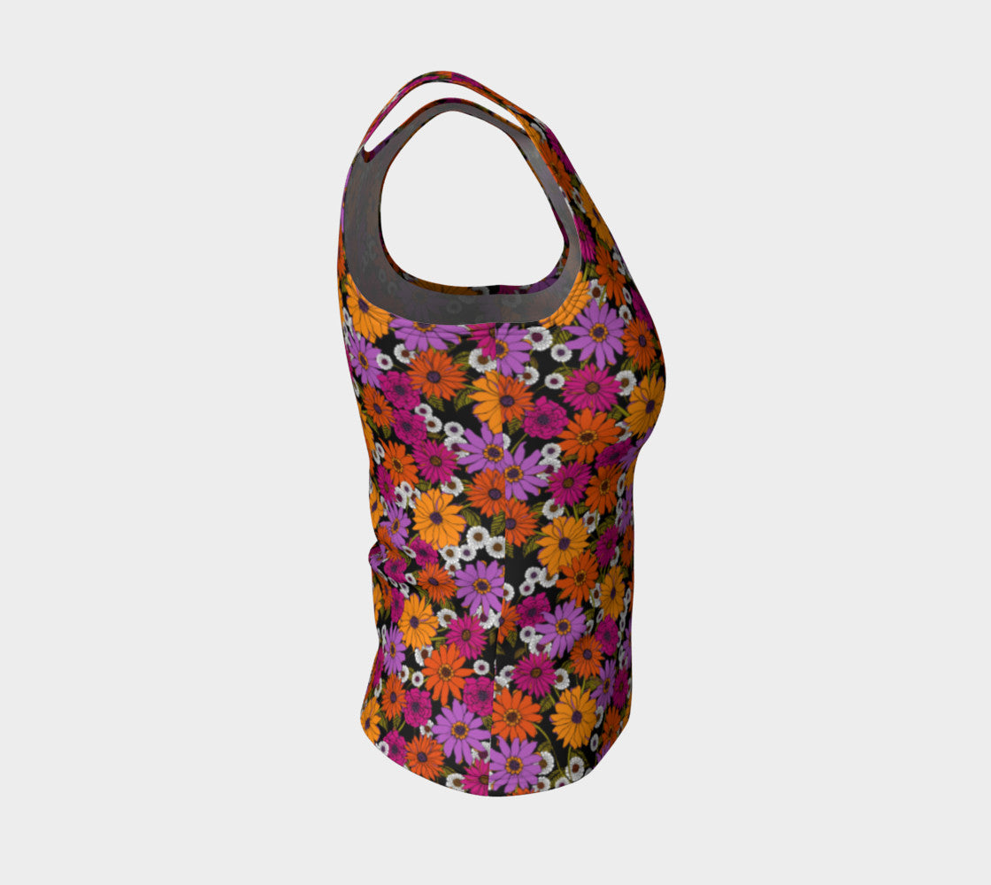 Retro Floral Fitted Tank Top/Regular Length Fitted Tank Top (Regular) Roxie Rudolph