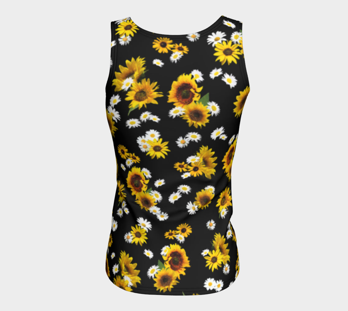 Sunflowers and Daisies Fitted Tank Top/Long Length Fitted Tank Top (Long)  Roxie Rudolph Roxie Rudolph Roxie Rudolph