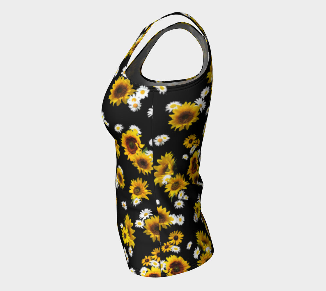 Sunflowers and Daisies Fitted Tank Top/Long Length