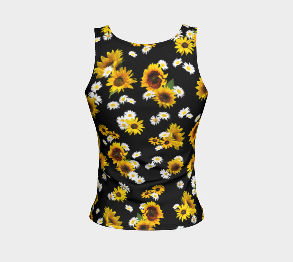 Sunflowers and Daisies Fitted Tank Top/Regular Length