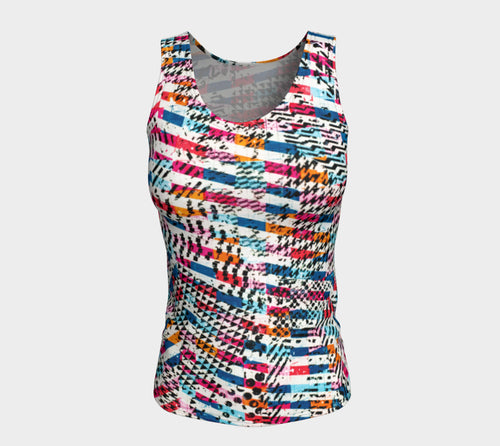 Patternmix Block Print Fitted Tank Top/Long Length