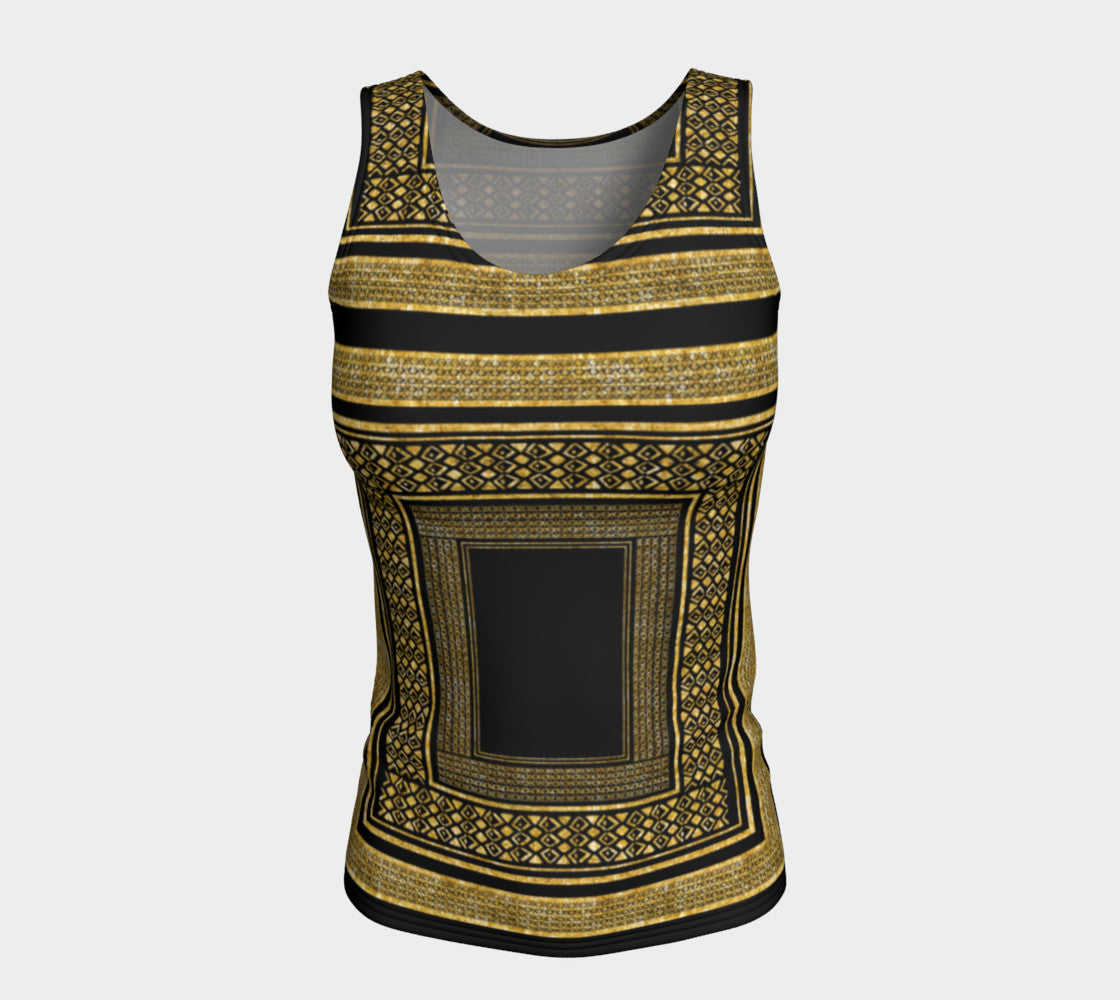 Gold Foil Frame Fitted Tank Top/Long Length Fitted Tank Top (Long)  Roxie Rudolph Roxie Rudolph Roxie Rudolph
