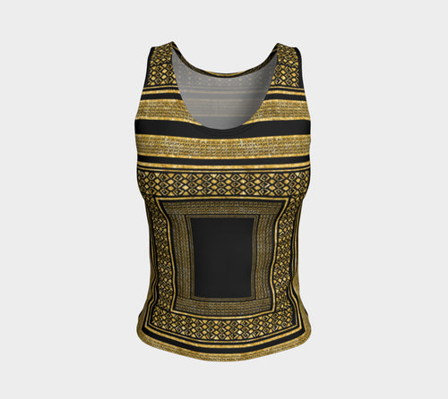 Gold Foil Frame Fitted Tank Top/Regular Length