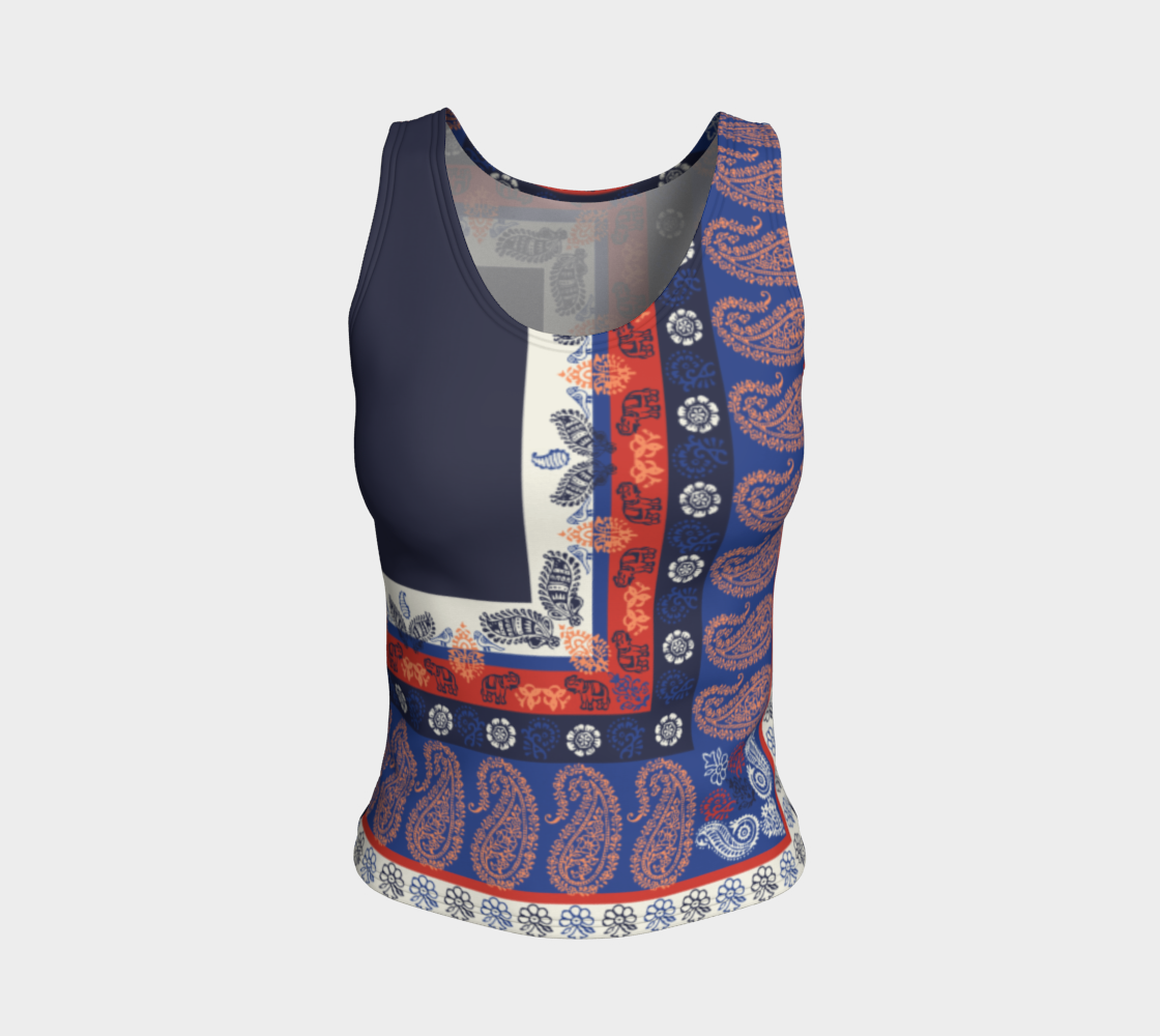 Elephant Paisley Fitted Tank Top/Regular Length Fitted Tank Top (Regular)  Roxie Rudolph Roxie Rudolph Roxie Rudolph