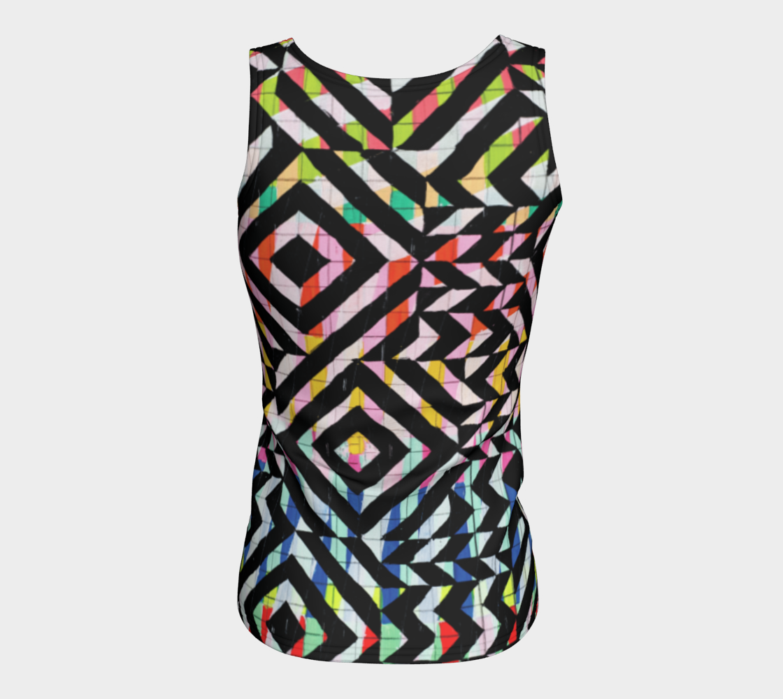 Street Art Mural Fitted Tank Top/Long Length