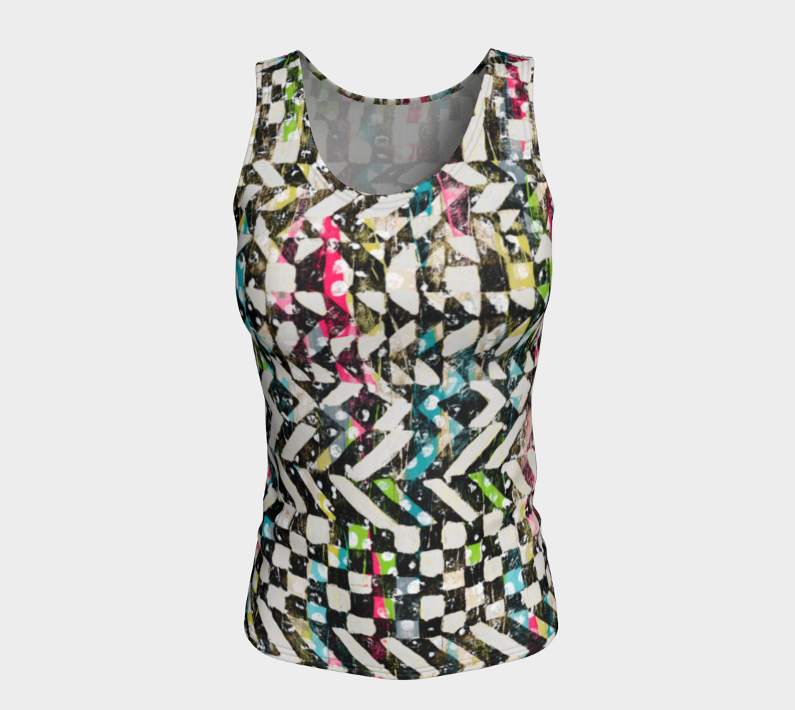 Checkered Canvas Fitted Tank Top/Long Length Fitted Tank Top (Long)  Roxie Rudolph Roxie Rudolph Roxie Rudolph