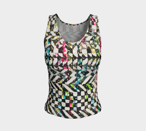 Checkered Canvas Fitted Tank Top/Regular Length