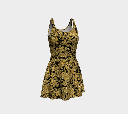 Gold Foil Flowers Flare Dress